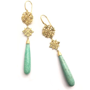 Lalaounis Aurelia Gold and Amazonite Earrings